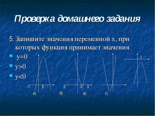 Проверка домашнего задания 5. Запишите значения переменной х, при которых фун...