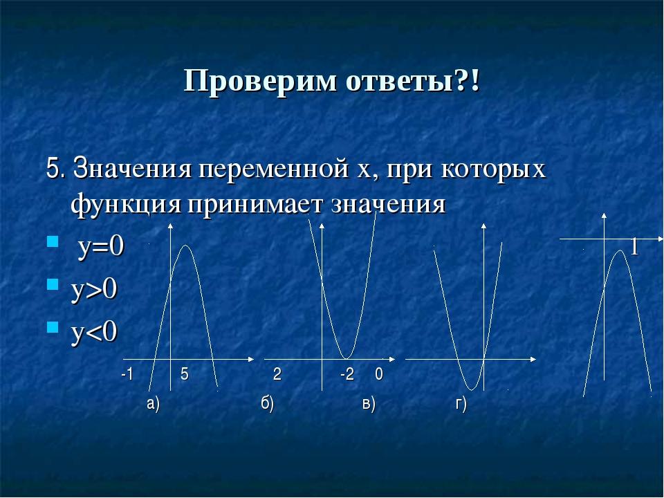 Проверим ответы?! 5. Значения переменной х, при которых функция принимает зна...