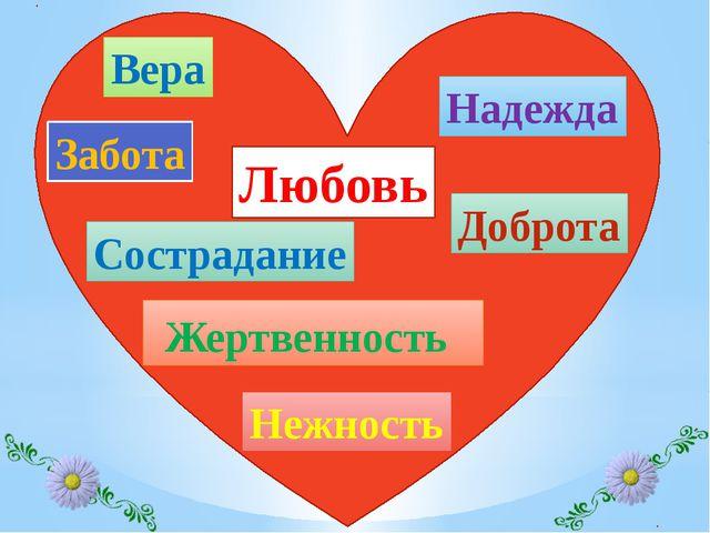 Доброта Вера Жертвенность Нежность Надежда Любовь Забота Сострадание