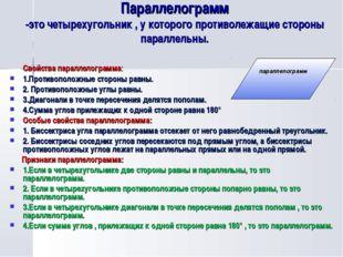 Параллелограмм -это четырехугольник , у которого противолежащие стороны парал