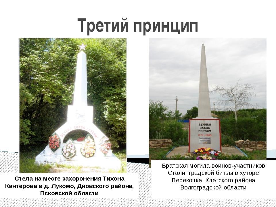 Третий принцип Стела на месте захоронения Тихона Кантерова в д. Лукомо, Дновс...