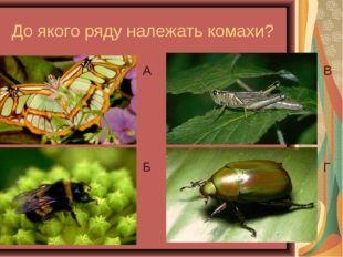 До якого ряду належать комахи? А Б В Г