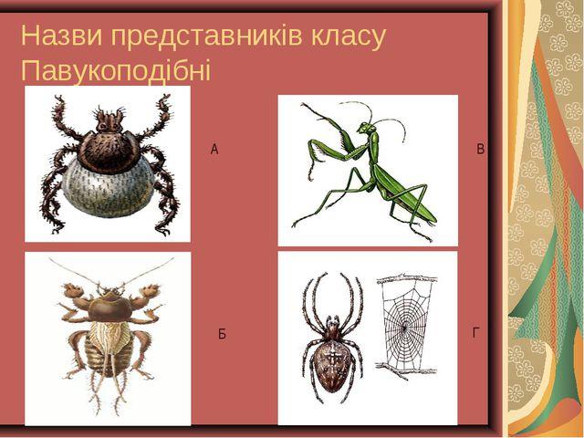 Назви представників класу Павукоподібні А Б В Г