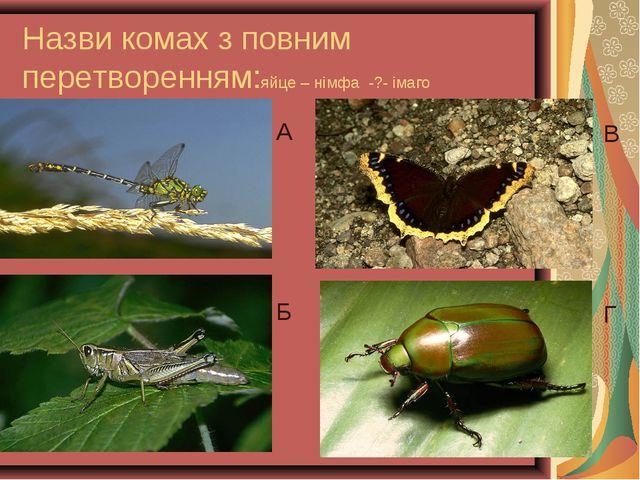 Назви комах з повним перетворенням:яйце – німфа -?- імаго А Б В Г