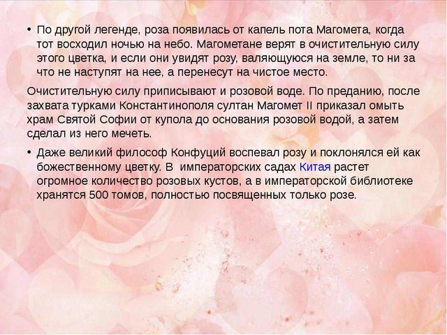По другой легенде, роза появилась от капель пота Магомета, когда тот восходил...