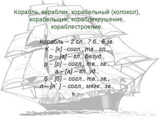Корабль, кораблик, корабельный (колокол), корабельщик, кораблекрушение, кораб