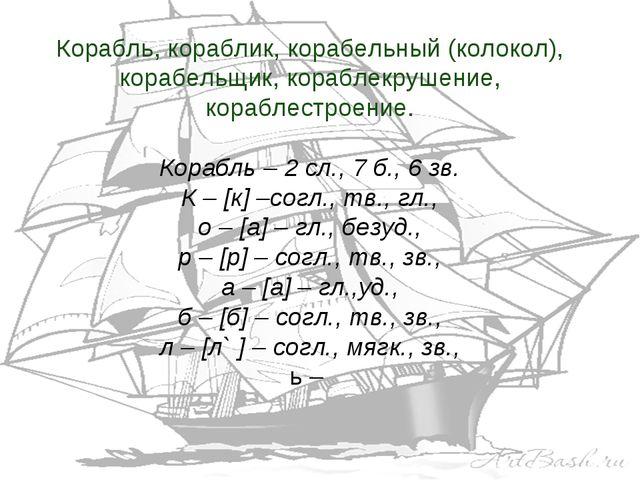 Корабль, кораблик, корабельный (колокол), корабельщик, кораблекрушение, кораб...