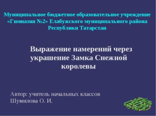 Муниципальное бюджетное образовательное учреждение «Гимназия №2» Елабужского