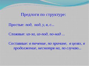 Предлоги по структуре: Простые: под, над, у, в, с... Сложные: из-за, из-под,