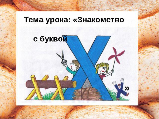 Тема урока: «Знакомство с буквой »