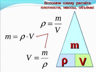 m  V Вспомни схему расчёта плотности, массы, объёма!