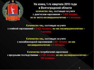 На конец 1-го квартала 2010 года в Волгоградской области количество лиц, сос