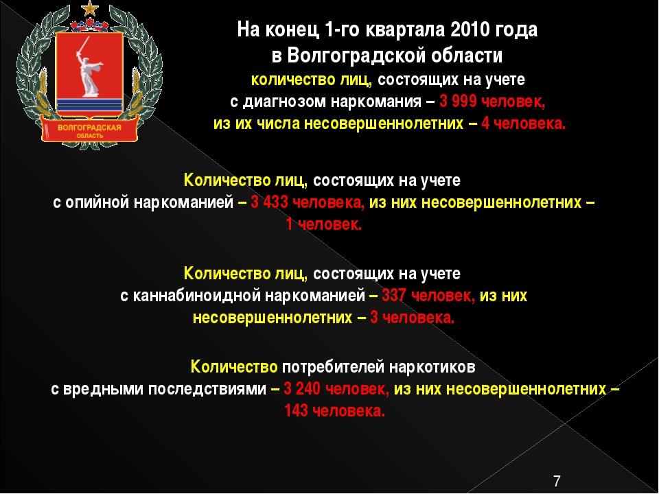 На конец 1-го квартала 2010 года в Волгоградской области количество лиц, сос...