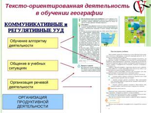 Тексто-ориентированная деятельность в обучении географии Обучение алгоритму д