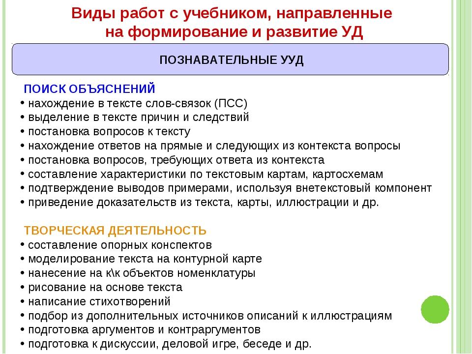 Виды работ с учебником, направленные на формирование и развитие УД ПОИСК ОБЪЯ...