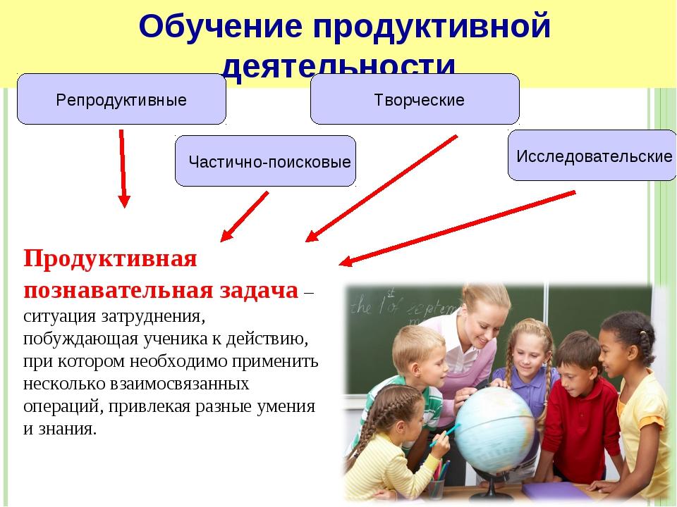 Продуктивная познавательная задача – ситуация затруднения, побуждающая ученик...
