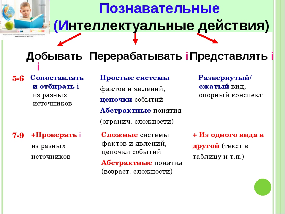 Познавательные (Интеллектуальные действия) Добывать i 5-6 7-9 Перерабатывать...