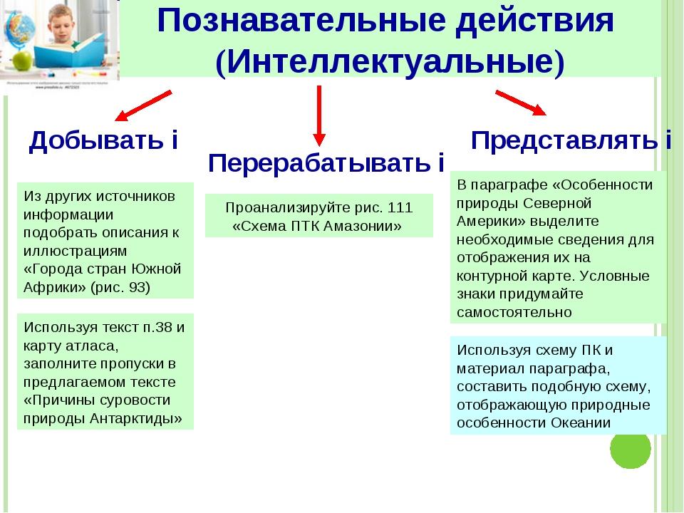 Познавательные действия (Интеллектуальные) Добывать i Перерабатывать i Предст...