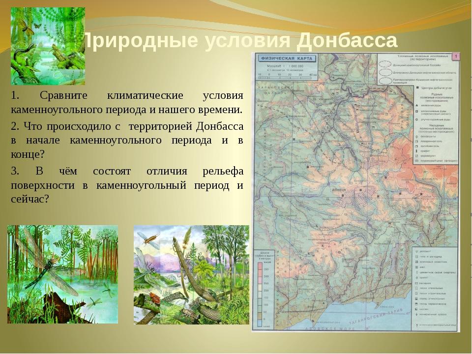 Природные условия Донбасса 1. Сравните климатические условия каменноугольного...