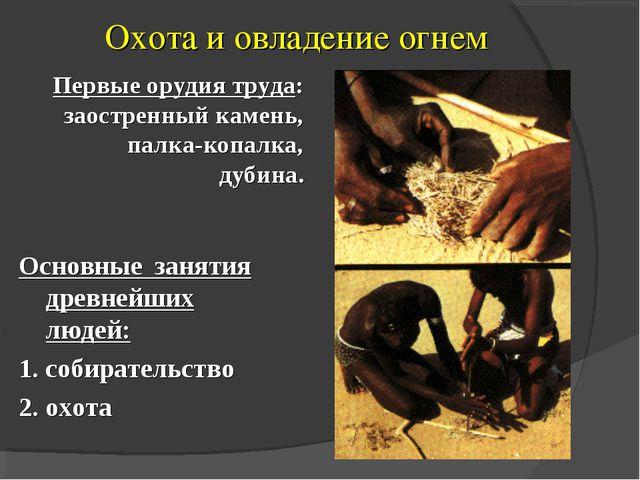 Охота и овладение огнем Основные занятия древнейших людей: 1. собирательство...