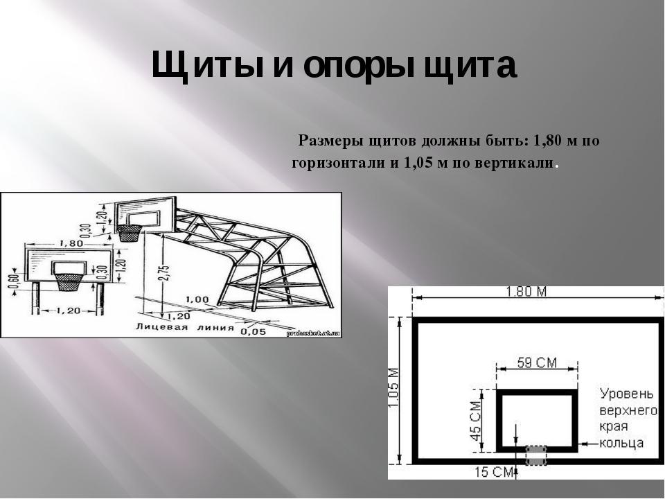 Щиты и опоры щита Размеры щитов должны быть: 1,80 м по горизонтали и 1,05 м п...