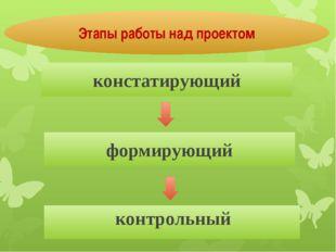 Этапы работы над проектом констатирующий формирующий контрольный