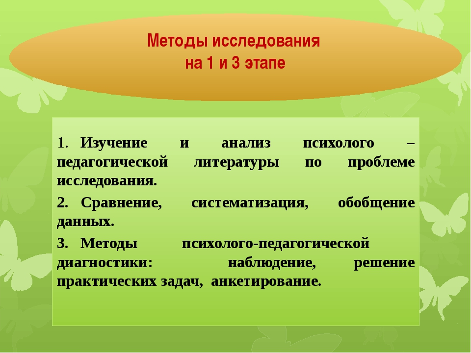 1.Изучение и анализ психолого – педагогической литературы по проблеме исслед...