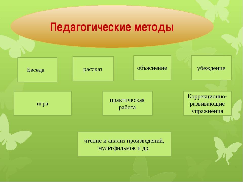 Педагогические методы Беседа рассказ объяснение убеждение игра практическая...
