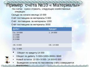 Пример счёта №10 « Материалы» На счетах нужно отразить следующие хозяйственны
