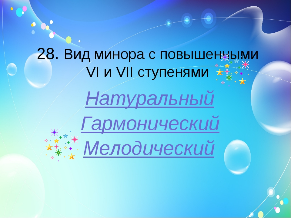 28. Вид минора с повышенными VI и VII ступенями Натуральный Гармонический Мел...