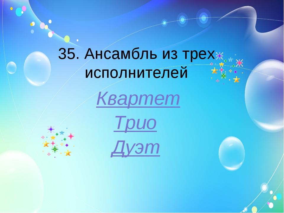 35. Ансамбль из трех исполнителей Квартет Трио Дуэт