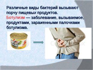 Различные виды бактерий вызывают порчу пищевых продуктов. Ботулизм — заболева