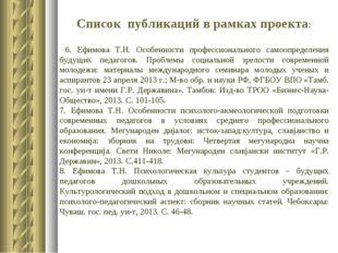Список публикаций в рамках проекта: 6. Ефимова Т.Н. Особенности профессиональ