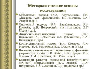 Методологические основы исследования Субъектный подход (К.А. Абульханова, Г.