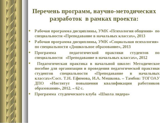 Перечень программ, научно-методических разработок в рамках проекта: Рабочая п...