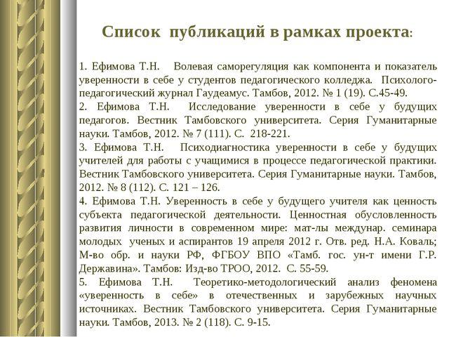 Список публикаций в рамках проекта: 1. Ефимова Т.Н. Волевая саморегуляция ка...