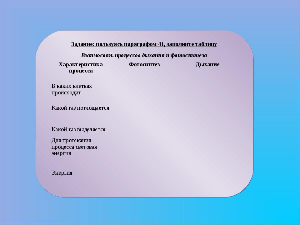 Задание: пользуясь параграфом 41, заполните таблицу Взаимосвязь процессов дых...