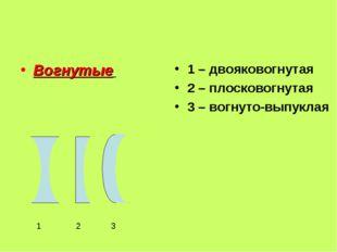 Вогнутые 1 – двояковогнутая 2 – плосковогнутая 3 – вогнуто-выпуклая 1 2 3