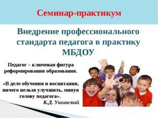 Семинар-практикум Внедрение профессионального стандарта педагога в практику М
