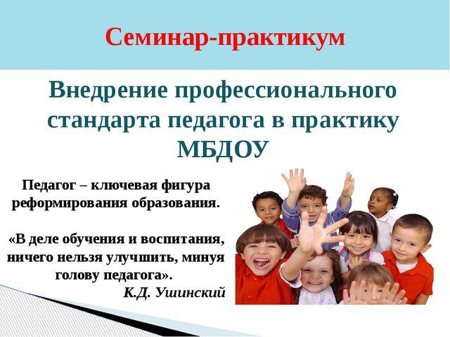 Семинар-практикум Внедрение профессионального стандарта педагога в практику М...