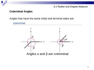 * 6.1 Radian and Degree Measure Coterminal Angles Angles that have the same i