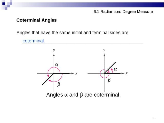 * 6.1 Radian and Degree Measure Coterminal Angles Angles that have the same i...