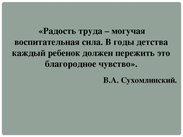 «Радость труда – могучая воспитательная сила. В годы детства каждый ребенок...