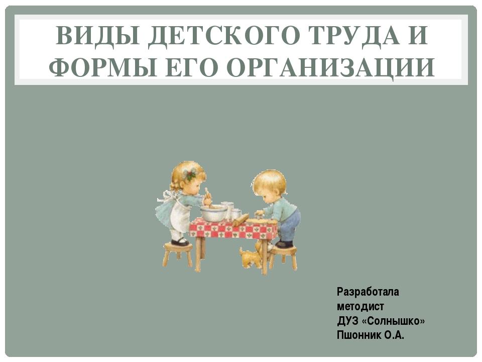 ВИДЫ ДЕТСКОГО ТРУДА И ФОРМЫ ЕГО ОРГАНИЗАЦИИ Разработала методист ДУЗ «Солнышк...