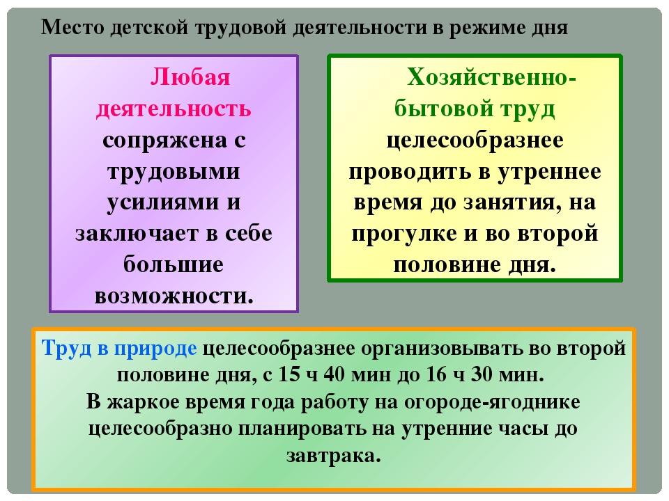 Место детской трудовой деятельности в режиме дня Любая деятельность сопряжена...