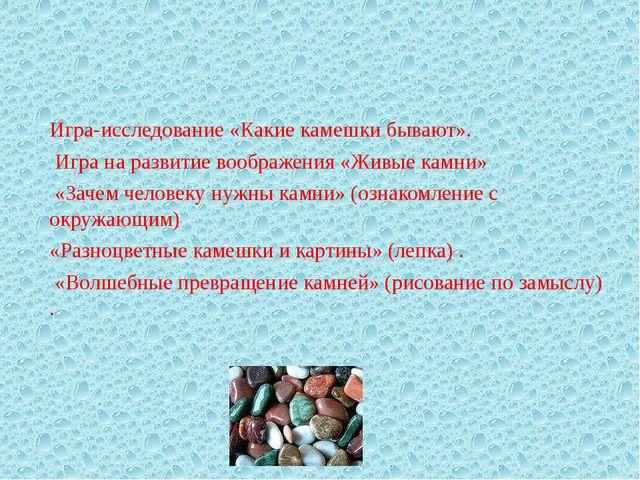 Игра-исследование «Какие камешки бывают». Игра на развитие воображения «Живые...