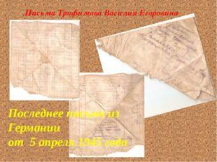 Последнее письмо из Германии от 5 апреля 1945 года Письма Трофимова Василия