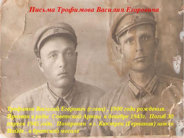 Письма Трофимова Василия Егоровича Трофимов Василий Егорович (слева) , 1900...