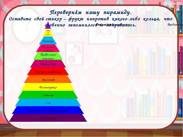 Перевернём нашу пирамиду. Оставьте свой стикер – фрукт напротив какого-либо...
