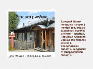 Дмитрий Мамин появился на свет 6 ноября 1852 года в заводском поселке Висимо